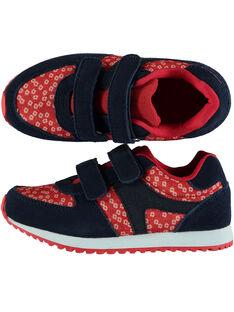 Basket bi-matière textile et cuir marine et rouge enfant fille GFBASROU / 19WK35I2D3F050