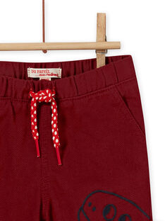 Pantalon motif dinosaure lie-de-vin bébé garçon MUPAPAN2 / 21WG10H1PAN719