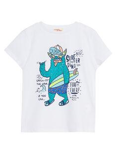 Tee shirt garçon blanc imprimé monstre JOQUATI5 / 20S902R2TMC000