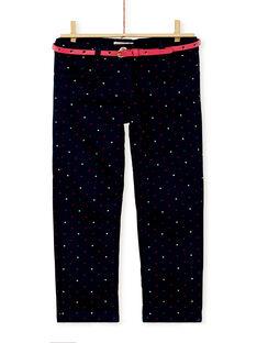 Pantalon fourré imprimé de petits pois en paillettes et ceinture effet cuir KALUPANT1 / 20W901P1PANC205
