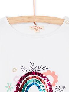 T-shirt manches courtes, imprimé fillette et arc-en-ciel en sequins magiques LAVITI3 / 21S901U1TMC000