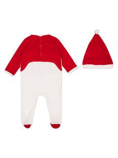 Grenouillère de Noël avec son bonnet en velours layette garçon GEGAGRENO / 19WH14T2GRE000