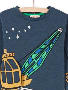 T-shirt bleu marine motif fantaisie enfant garçon MOCOTEE3 / 21W902L2TMLC202