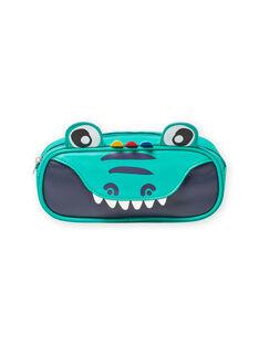 Trousse verte motif crocodile enfant garçon MYOCLATROU / 21WI02G1TROG614