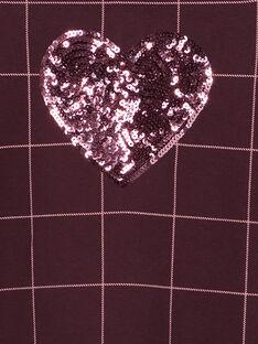 Robe manches courtes à carreaux avec col claudine et cœur en sequins sur le devant  GAJOROB6 / 19W90141D2FI809