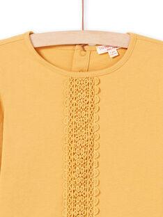 T-shirt manches longues moutarde avec dentelle enfant fille MAJOSTEE3 / 21W9012BTMLB106