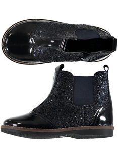 Boots bi-matière cuir verni et paillettes marine enfant fille GFBOOTGLIT / 19WK35IBD0D070