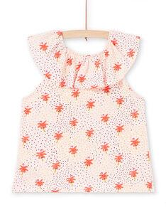 T-shirt nude au col volanté et imprimé flamant rose et palmier enfant fille LATERTI1 / 21S901V1TMCD322