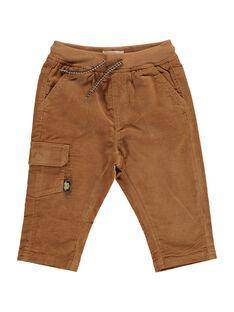 Pantalon en velours marron clair bébé garçon DUJOPAN3 / 18WG1034PANI802