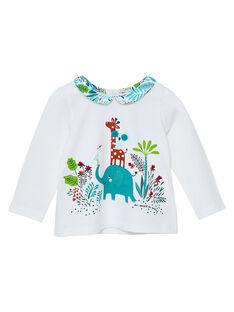 Tee shirt manches longues et col imprimé bébé fille JICLOBRA / 20SG0911BRA001