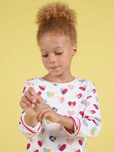 T-shirt réversible écru imprimé cœurs et rayures enfant fille MAMIXTEE2 / 21W901J4TML001
