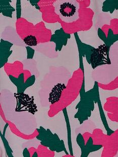 Legging fille avec fleurs rose et détails fluo JYAPOELEG2 / 20SI01G1CAL301