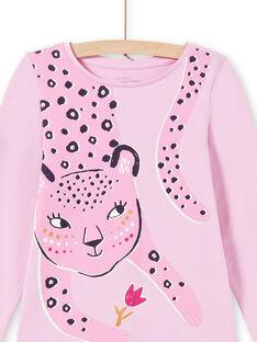 Ensemble pyjama T-shirt et pantalon rose enfant fille MEFAPYJAGU / 21WH1171PYGH700