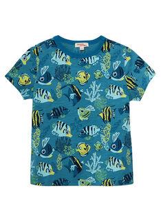 Tee shirt garçon  manches courtes imprimé poissons bleu JOBOTI6 / 20S902H5TMC102