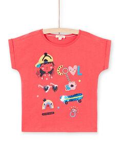 T-shirt rose motifs fantaisie enfant fille LAHATI1 / 21S901X1TMCF506