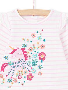T-shirt manches longues lilas rayé à motif licorne bébé fille MITUTEE1 / 21WG09K1TMLH700
