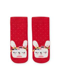 Chaussettes rouges à pois motif lapin bébé fille LYIHACHOB / 21SI09X1SOQ505