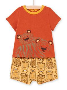 T-shirt et short brique et orange bébé garçon LUTERENS / 21SG10V1ENSF519