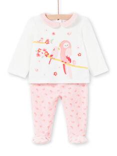 Pyjama layette fille en velours motif oiseaux LEFIPYJAMI / 21SH1311PYJ001