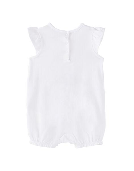 Grenouillère bébé fille courte blanche JEFIGREMAM / 20SH13U5GRE000