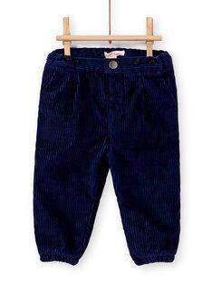 Pantalon en velours bleu avec bretelles bébé garçon  KUSAPAN1 / 20WG10O1PAN713