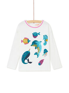 T-shirt manches longues, imprimé poisson et dauphin en sequins magique  KAECOTEE1 / 20W901H4TML001