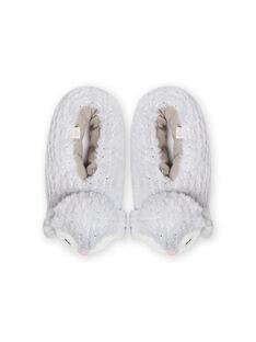 Pantoufles grises pingouin 3D enfant fille MAPANTPING3D / 21XK3531PTD940