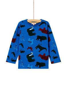 T-shirt bleu imprimé savane enfant garçon. KOSATEE1 / 20W902O2TMLC221