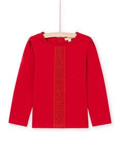 T-shirt manches longues rouge détail dentelle enfant fille MAJOSTEE5 / 21W90124TML511
