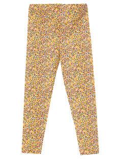 Legging jaune imprimé confettis enfant fille JYATROLEG1 / 20SI01F1CALB102