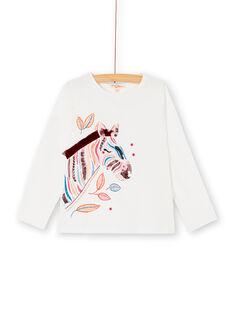 T-shirt manches longues, zèbre imprimé paillette, brodé et perlé KASATEE1 / 20W901O1TML001