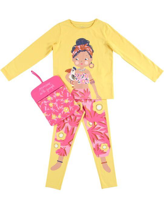 Pyjama déguisement jaune enfant fille avec son range-pyjama JEFAPYJUN / 20SH11L4PYGB116