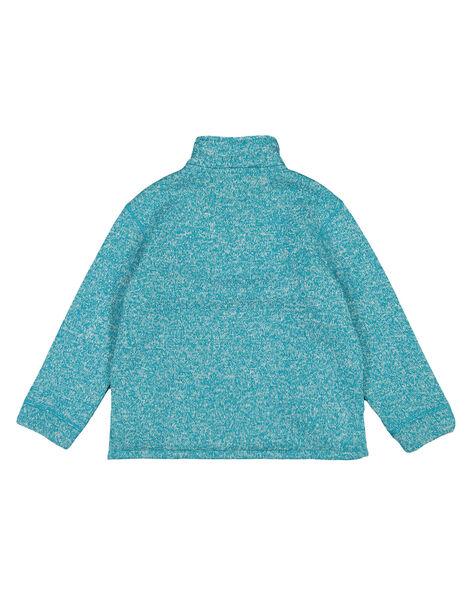 Pull matière technique intérieur moutonné Turquoise Foncé GOJOPULTEK2 / 19W902L1D2EC217