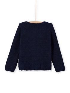 Cardigan chenille bleu nuit enfant fille MAYJOCAR1 / 21W90118CARC205