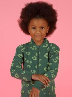 Cardigan vert en maille imprimé léopard enfant fille MAKACAR / 21W901I1CAR626