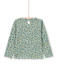Blouse manches longues vert clair à imprimé fleuri enfant fille MAKATEE5 / 21W901I5TML612
