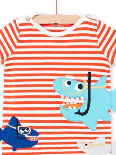 Barboteuse blanche layette garçon rayée motifs requins LEGAGREQUI / 21SH14C2GRE509