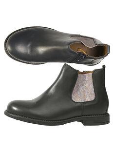 Boots en cuir lisse marine avec une bande élastique argenté pailletté GFBOOTVIA / 19WK35I4D0D070