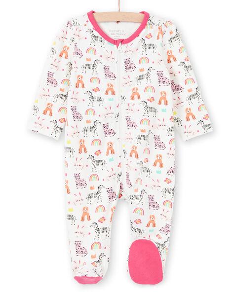 Grenouillère écrue à imprimé animaux, arc-en-ciel et couronnes colorés bébé fille MEFIGREANI / 21WH1333GRE001