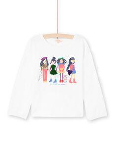 T-shirt écru motif fantaisie à sequins réversibles enfant fille MAMIXTEE4 / 21W901J5TML001