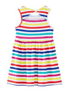 Robe sans manches à rayures multicolores enfant fille JAMAROB5 / 20S901P5ROB000
