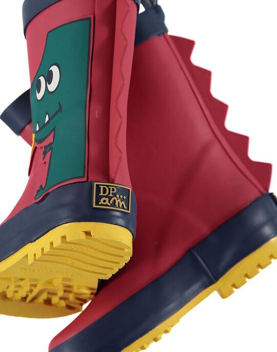 Botte de pluie en caoutchouc rouge avec un patch dragon sur le côté et des ailerons 3D à l'arrière. Tire botte à l'arrière pour faciliter l'enfilage. Semelle extérieure en caoutchouc exclusif DP…am au dessin ludique. GBGBPVER / 19WK38G1D0C050