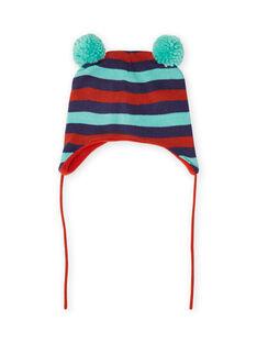 Bonnet à rayures et pompons bébé garçon MYUGROBON / 21WI1054BONC234