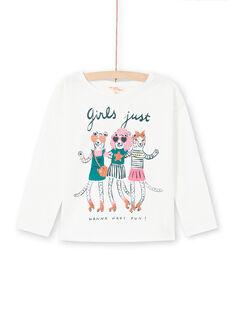 T-shirt écru à motifs animaux fantaisie enfant fille MAKATEE4 / 21W901I3TML001