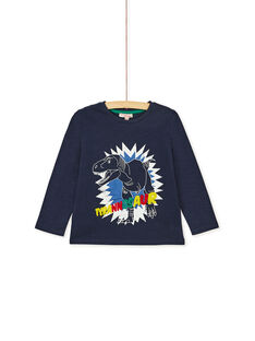 Tee shirt bleu marine enfant garçon qui brille dans le noir. KORETEE4 / 20W902G1TML705