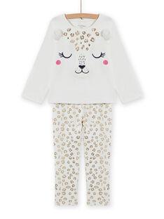 Ensemble pyjama en velours à imprimé léopard enfant fille MEFAPYJFEL / 21WH1198PYJ001