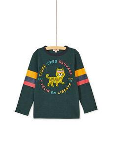 Tee shirt manches longues vert enfant garçcon KOBRITEE4 / 20W902F1TMLG614