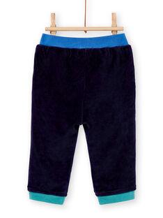 Jogging bleu marine velours bébé garçon KULUPAN2 / 20WG10P2PANC205