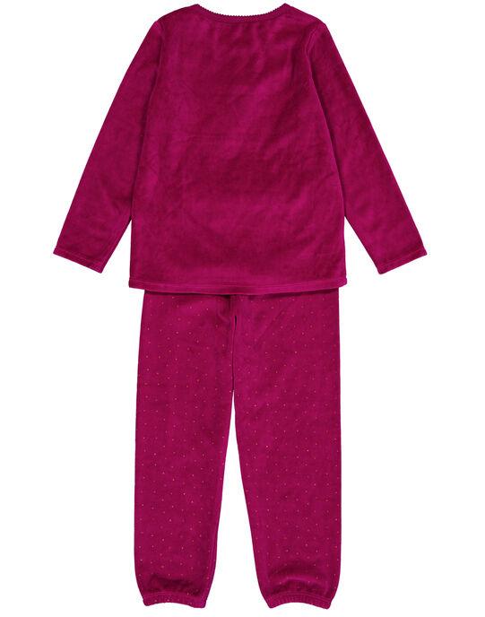 Pyjama aubergine en velours enfant fille GEFAPYJLAM / 19WH11N3PYJ718