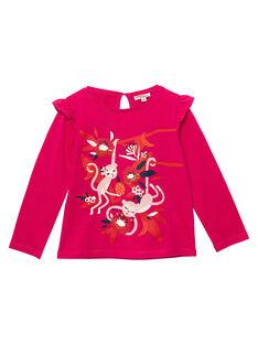 T-shirt rose imprimé fleurs et petits singes  JAVITEE2 / 20S901D1TML406